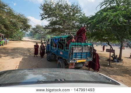 Bagan Myanmar - OCTOBER 20: Monks on Bus bagan Myanmar (Burma) on October 20 2014