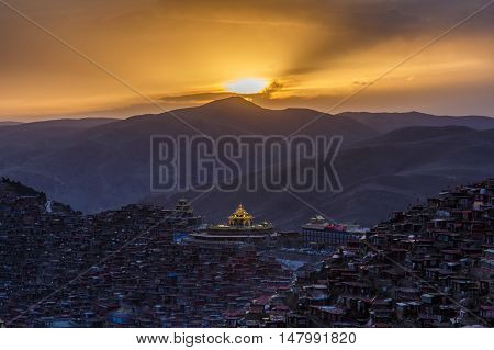 Top view monastery at Larung gar (Buddhist Academy) in sunset time Sichuan China