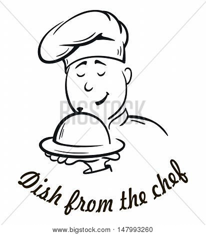 chief-cooker. dish from the chef. vector cartoon on a white background