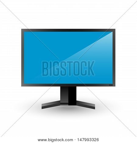 Black plasma TV with light blue screen and reflection