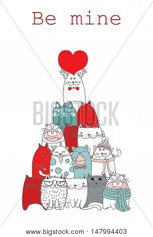 Vector Valentine cats with heart, hand drawn illustration