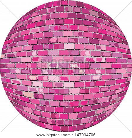 Pink brick ball - Illustration,  Pink Sphere in brick style,  Abstract grunge pink brick in circle