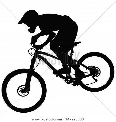 Bike race on a mountain -- silhouette vector