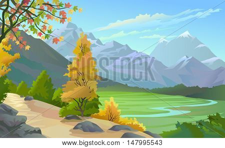 SCENIC OUTDOORS 'MOUNTAIN VALLEY AND RIVER'
