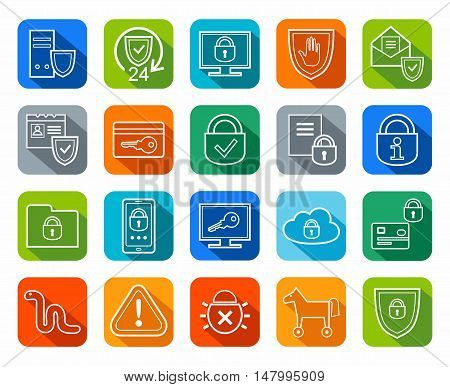 Information protection, contour icons, colored, flat.Information technology, data security system. Vector, white, contour icons on color background with a shadow.