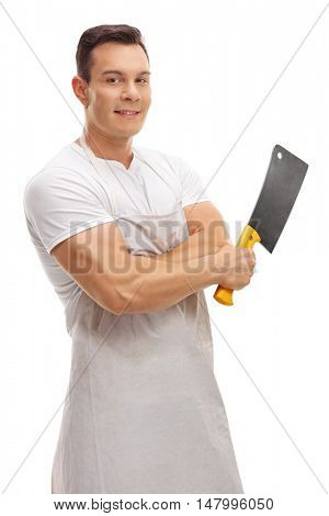 Smiling butcher posing with a cleaver isolated on white background