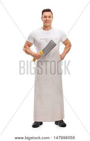 Joyful butcher holding a cleaver isolated on white background