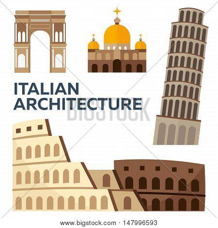 Italian Architecture. Modern Flat Design. Vector Illustration