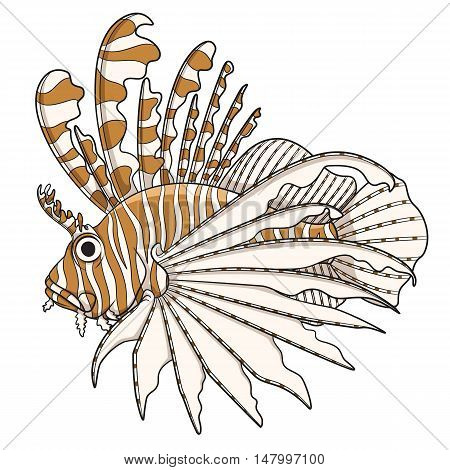Color illustration lionfish. Vector objects on a white background.