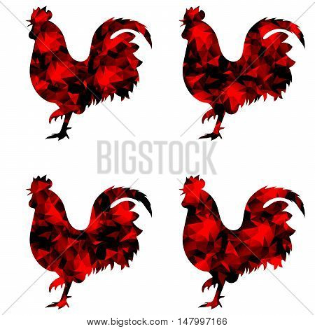 triangular geometric polygonal red rooster, isolated illustration of cock on white background.