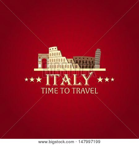 Rome. Tourism. Travelling Illustration Rome City. Modern Flat Design. Italy Travel. Colosseum