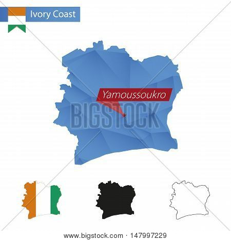Ivory Coast Blue Low Poly Map With Capital Yamoussoukro.