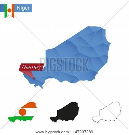 Niger Blue Low Poly Map With Capital Niamey.