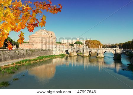 famous castle saint Angelo and bridge at fall day, Rome, Italy