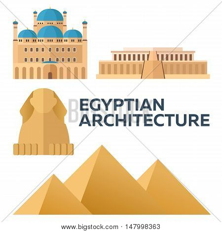 Egyptian Architecture. Modern Flat Design. Vector Illustration