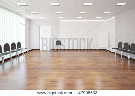 Interior with shiny wooden floor concrete walls patterned ceiling white door numerous chairs and empty whiteboard. presentation concept. 3D Rendering