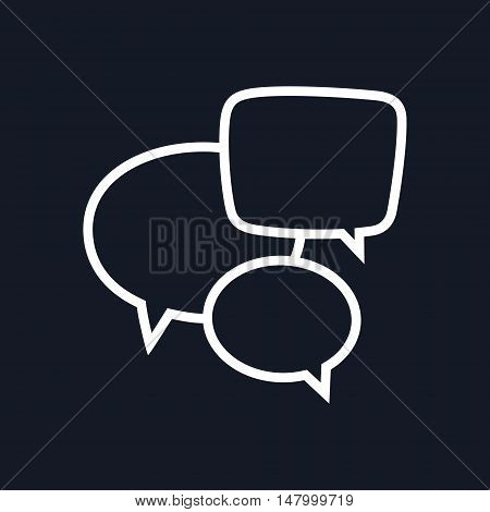 Speech Bubbles Isolated on Black Background. Vector Illustration