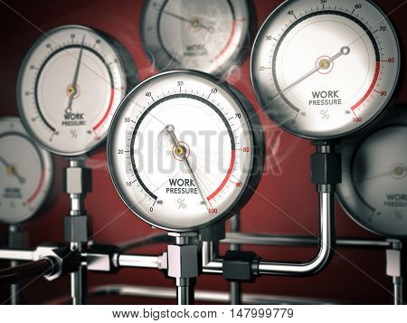 3D illustration of gauges with one overloaded over red background. Concept of overwork or workplace stress management.