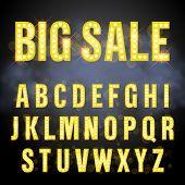 Light retro signboard lamp bulb letter set. Big Sale lettering of vegas casino style alphabet. Gold  poster