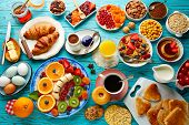 Breakfast buffet healthy continental coffee orange juice fruit salad croissant poster