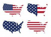 Постер, плакат: Америка США флаг и карта