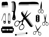 stock photo of barber razor  - barber or hairdresser accessories - JPG