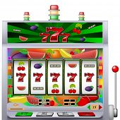 foto of poker machine  - casino slot machine with colorful background vector illustration - JPG