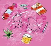 pic of drug addict  - A picture with drug related items with pink background - JPG