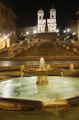 Piazza Di Spagna Of Night In Rome, Italy