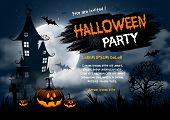 Halloween night background with pumpkin, haunted house and full moon. Flyer or invitation template f poster