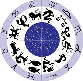illustration with zodiac symbols isolated on white background