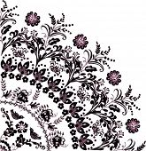 illustration with black and pink flower quadrant ornament