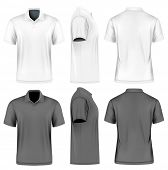 Mens short sleeve polo shirt. Front, back and side views. White and black variants. Vector illustra poster
