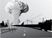 stock photo of nuke  - illustration with atomic explosion cloud above road - JPG