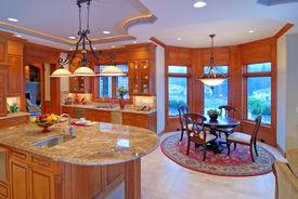 foto of light fixture  - Open Kitchen with bay window nook and granite counter top - JPG