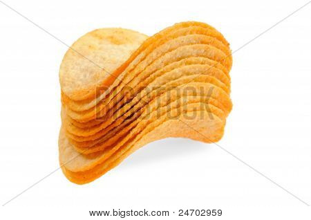 Handful of potato chips