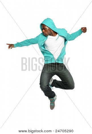 Portrait of African American hip hop dancer jumping isolated over white background