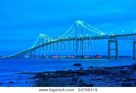 jamestown bridge crossing over bay at newport rhode island