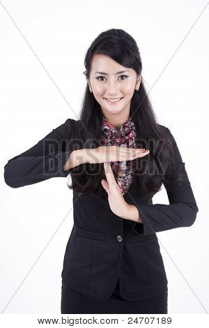 Business Woman With Time Out Gesture Hand