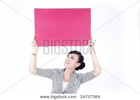 Asian Woman Holding A  Red Blank Sign Billboard