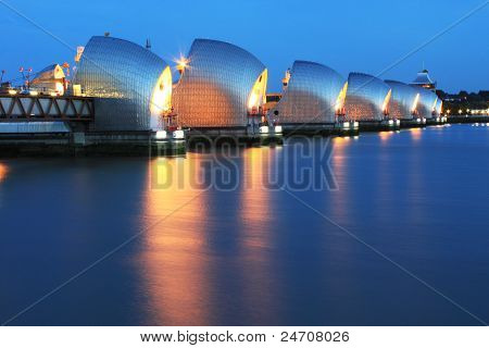 Thames Barrier River Thames at night