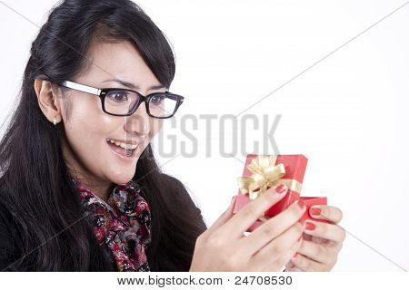 Businesswoman Surprised Getting A Present