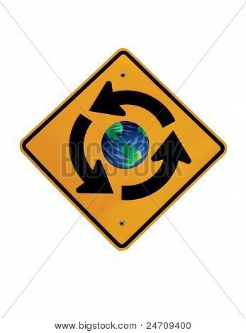 Traffic Circle Earth Sign