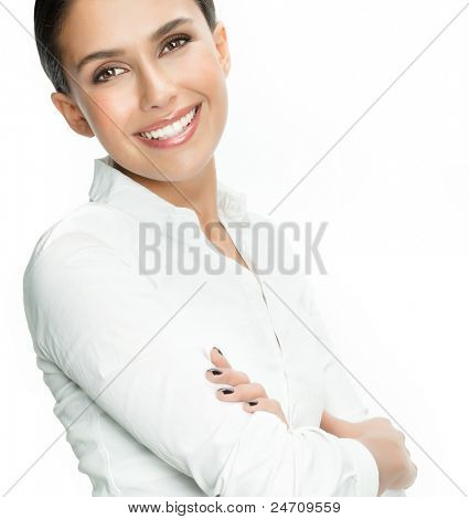 portrait of attractive  caucasian smiling woman isolated on white studio shot looking at camera