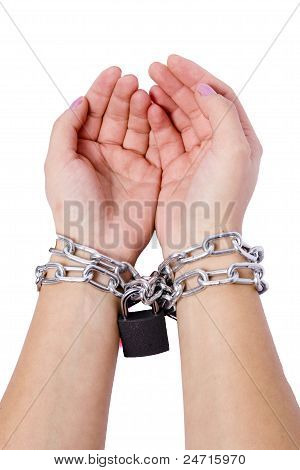 Two Hands Chained Dark Locks