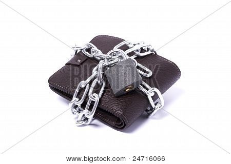 Dark Brown Wallet With Chain And Padlock Wrapped Around The Closed