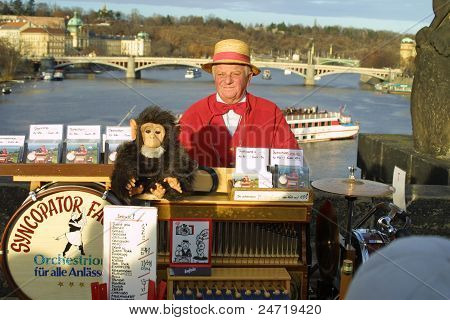 Street Organ Performer in Prague
