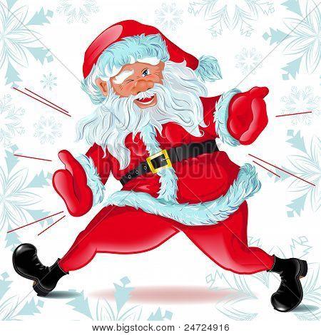 Santa Claus  runs and Winks
