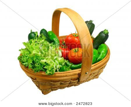 Fresh Vegetables Basket (Clipping Path Included)