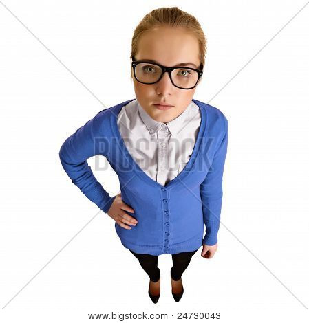 Funny Girl With Big Glasses On White